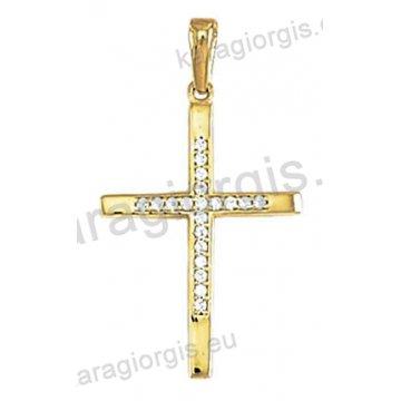 Γυναικείος σταυρός χρυσός Κ14 με άσπρες πέτρες ζιργκόν