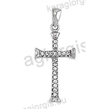 Γυναικείος σταυρός λευκόχρυσος Κ14 με άσπρες πέτρες ζιργκόν