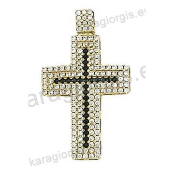 Βαπτιστικός σταυρός χρυσός Κ14 με άσπρες και μαύρες πέτρες ζιργκόν