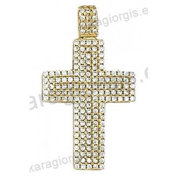Βαπτιστικός σταυρός χρυσός Κ14 με άσπρες πέτρες ζιργκόν
