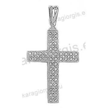 Βαπτιστικός σταυρός λευκόχρυσος Κ14 με άσπρες πέτρες ζιργκόν