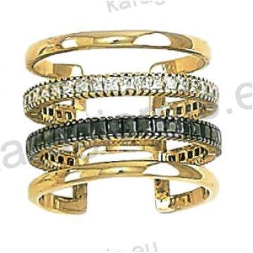 Μοντέρνο δίχρωμο δαχτυλίδι Κ14 λευκόχρυσο με χρυσό με άσπρες και μαύρες πέτρες  ζιργκόν 795e82850ea