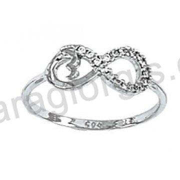 Μοντέρνο λευκόχρυσο δαχτυλίδι Κ14 με το σύμβολο άπειρο και μονόγραμμα με άσπρες πέτρες ζιργκόν