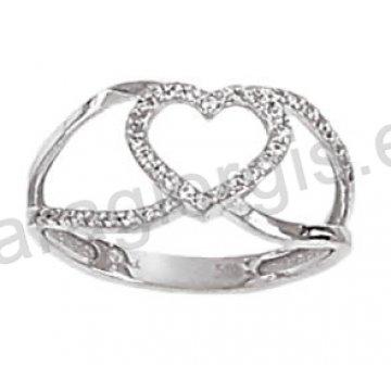 Μοντέρνο δαχτυλίδι λευκόχρυσο Κ14 σε σχήμα καρδιάς με άσπρες πέτρες ζιργκόν