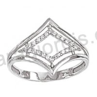 Μοντέρνο δαχτυλίδι λευκόχρυσο Κ14 με άσπρες πέτρες ζιργκόν 5869979fe51