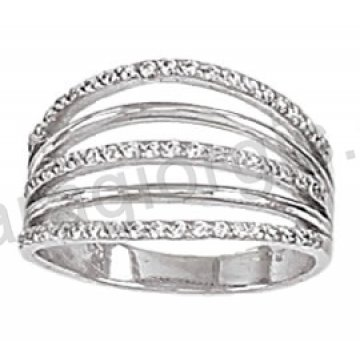 Μοντέρνο δαχτυλίδι λευκόχρυσο Κ14 πολύβερο με άσπρες πέτρες ζιργκόν