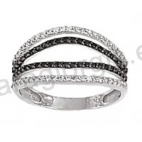 Μοντέρνο δαχτυλίδι λευκόχρυσο Κ14 με άσπρες και μαύρες πέτρες ζιργκόν και  μαύρο πλατίνωμα 3decaa47ef4