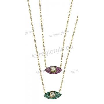 Κολιέ χρυσό Κ14 με μενταγιόν σε σχήμα ματάκι με πράσινες ή κόκκινες και  άσπρες πέτρες ζιργκόν c9a9b6ab01f