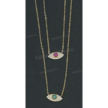 Κολιέ χρυσό Κ14 με μενταγιόν ματάκι με άσπρες και κόκκινες ή πράσινες  πέτρες ζιργκόν 3035b4073ee