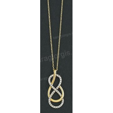 Κολιέ δίχρωμο χρυσό με λευκόχρυσο Κ14 με μενταγιόν και άσπρες πέτρες ζιργκόν ab92250caf3
