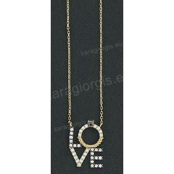 Κολιέ δίχρωμο χρυσό με λευκόχρυσο Κ14 με μενταγιόν με λογότυπο love και  άσπρες πέτρες ζιργκόν a37a8ee1b23