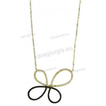 Κολιέ χρυσό Κ14 σε σχήμα πεταλούδας με άσπρες και μαύρες πέτρες ζιργκόν. 0e08df2b3fc