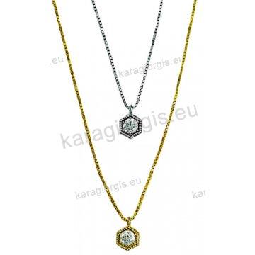 Κολιέ χρυσό ή λευκόχρυσο Κ14 σε μονόπετρο άσπρες πέτρες ζιργκόν. f6fd14a2eaf