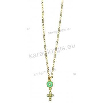 Κολιέ χρυσό Κ14 με τιρκουάζ μάτι και σταυρουδάκι με άσπρες πέτρες ζιργκόν. 558601e5b37