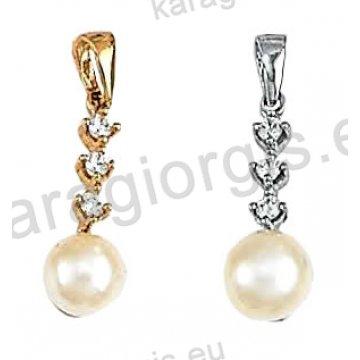 Μενταγιόν Κ14 χρυσό ή λευκόχρυσο με πέρλα και άσπρες πέτρες ζιργκόν.