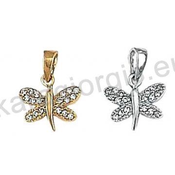 Μενταγιόν Κ14 χρυσό ή λευκόχρυσο σε πεταλούδα με άσπρες πέτρες ζιργκόν.