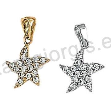 Μενταγιόν Κ14 χρυσό ή λευκόχρυσο σε αστέρι με άσπρες πέτρες ζιργκόν.