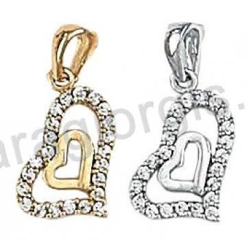 Μενταγιόν Κ14 χρυσό ή λευκόχρυσο σε διπλή καρδιά με άσπρες πέτρες ζιργκόν.