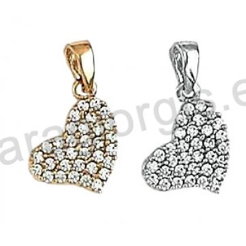 Μενταγιόν Κ14 χρυσό ή λευκόχρυσο σε καρδιά με άσπρες πέτρες ζιργκόν.
