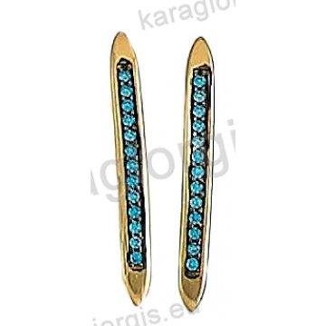 Σκουλαρίκια Κ14 χρυσό ή λευκόχρυσο κρεμαστά σε μπάρα με χρωματιστές πέτρες ζιργκόν.