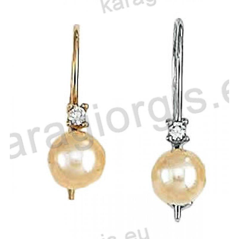 S5 Σκουλαρίκια Κ14 χρυσό ή λευκόχρυσο κρεμαστά με πέρλα. Ένα κόσμημα ... d176da70075