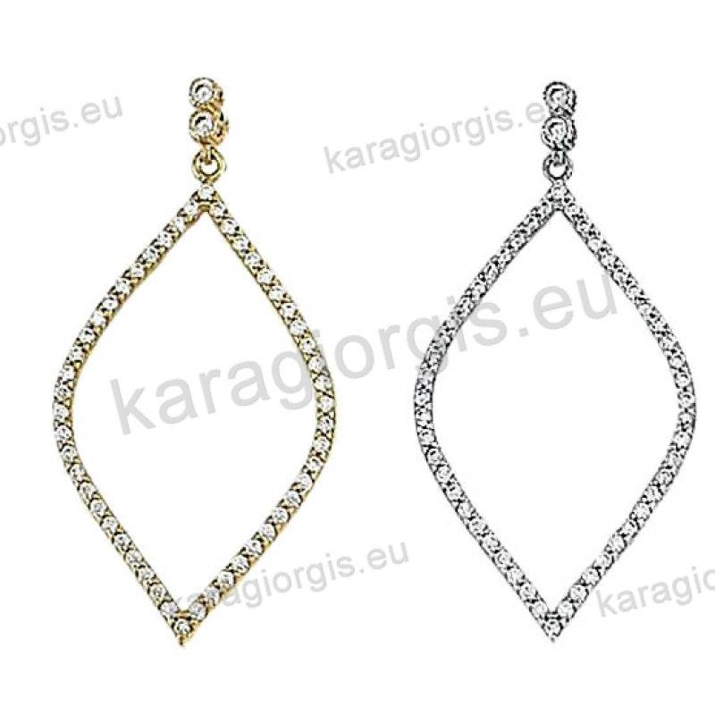 Σκουλαρίκια Κ14 χρυσό ή λευκόχρυσο κρεμαστά σε ρόμβο με άσπρες πέτρες  ζιργκόν. 155cc4e6ebe