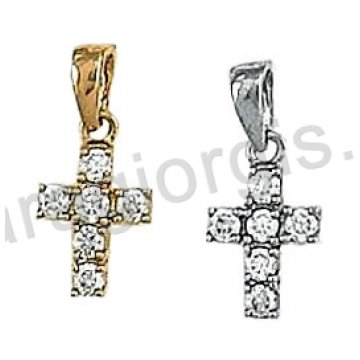 Γυναικείος σταυρός χρυσός ή λευκόχρυσος Κ14 με άσπρες πέτρες ζιργκόν.