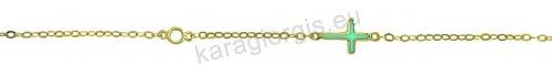 Βραχιόλι χρυσό fashion Κ14 με σταυρό και μονοπετράκι με άσπρες πέτρες ζιργκόν.