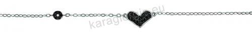 Βραχιόλι λευκόχρυσο fashion Κ14 με καρδιά και στόχο με μαύρες πέτρες ζιργκόν.