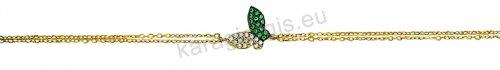 Βραχιόλι χρυσό fashion Κ14 με πεταλούδα σε διπλή καδένα με άσπρες πέτρες ζιργκόν.