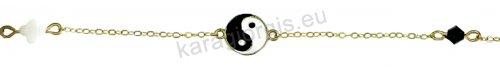 Βραχιόλι χρυσό fashion Κ14 με σταυρουδάκι yin yang και μονόπετρο με μαύρο σπινέλιο.