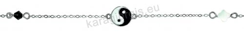 Βραχιόλι λευκόχρυσο fashion Κ14 με σταυρουδάκι yin yang και μονόπετρο με μαύρο σπινέλιο.