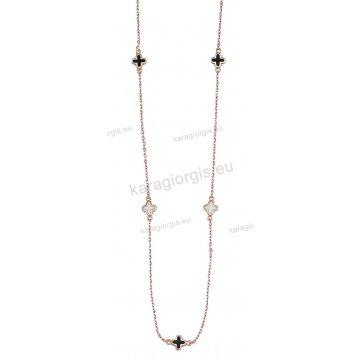 Κολιέ ροζ χρυσό Κ14 διπλής όψης με σταυρουδάκια περιμετρικά σε άσπρο και μαύρο σμαλτό.