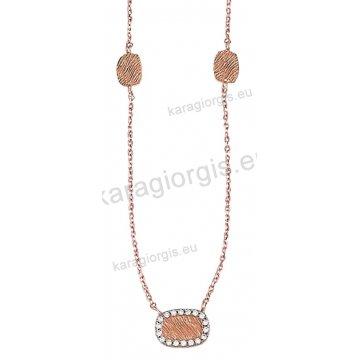Κολιέ ροζ χρυσό Κ14 με σφυρήλατα στοιχεία με άσπρες πέτρες ζιργκόν.