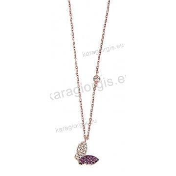 Κολιέ ροζ χρυσό Κ14 με κρεμαστή πεταλούδα με άσπρες και κόκκινες πέτρες ζιργκόν.