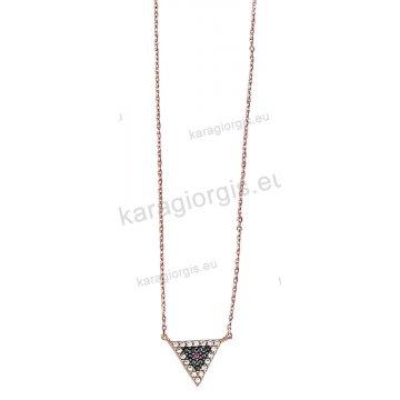 Κολιέ ροζ χρυσό Κ14 σε τρίγωνο με άσπρες και μαύρες πέτρες ζιργκόν.