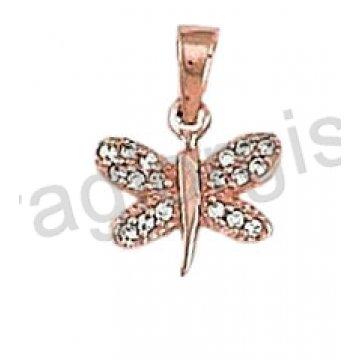 Μενταγιόν ροζ χρυσό Κ14 σε πεταλούδα με άσπρες πέτρες ζιργκόν.