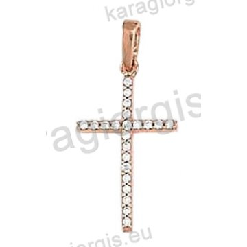 Σταυρός ροζ χρυσό Κ14 με άσπρες πέτρες ζιργκόν.