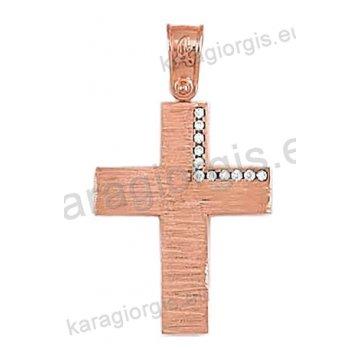 Βαπτιστικός σταυρός ροζ χρυσό Κ14 για κορίτσι σε σφυρήλατο φινίρισμα με  ένθετο λευκόχρυσο και άσπρες πέτρες ζιργκόν. T5252 3e52923a7ab