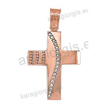 Βαπτιστικός σταυρός ροζ χρυσό Κ14 για κορίτσι σε λουστρέ φινίρισμα με άσπρες πέτρες ζιργκόν.