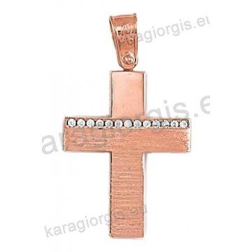 Βαπτιστικός σταυρός ροζ χρυσό Κ14 για κορίτσι σε σφυρήλατο φινίρισμα με άσπρες πέτρες ζιργκόν.