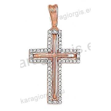 Βαπτιστικός σταυρός ροζ χρυσό Κ14 για κορίτσι σε λουστέ φινίρισμα με ένθετο λευκόχρυσο και άσπρες πέτρες ζιργκόν.