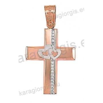 Βαπτιστικός σταυρός ροζ χρυσό Κ14 για κορίτσι σε λουστέ φινίρισμα με ένθετες λευκόχρυσες καρδούλες και άσπρες πέτρες ζιργκόν.