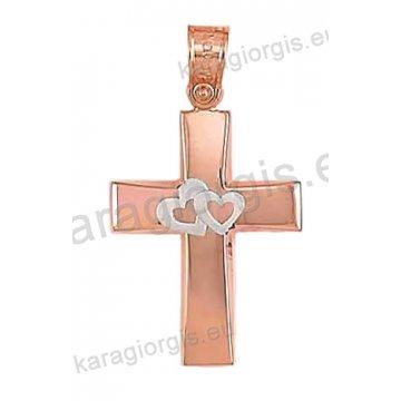Βαπτιστικός σταυρός ροζ χρυσό Κ14 για κορίτσι σε λουστέ φινίρισμα με ένθετη λευκόχρυση καρδούλα.