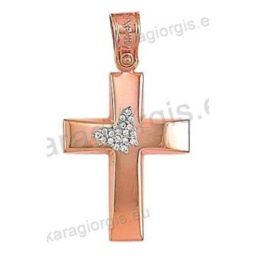 Βαπτιστικός σταυρός ροζ χρυσό Κ14 για κορίτσι σε λουστέ φινίρισμα με ένθετη λευκόχρυση πεταλούδα και άσπρες πέτρες ζιργκόν.