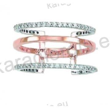 Μοντέρνο δαχτυλίδι σε ροζ χρυσό Κ14 με ένθετο λευκόχρυσο και άσπρες πέτρες ζιργκόν.
