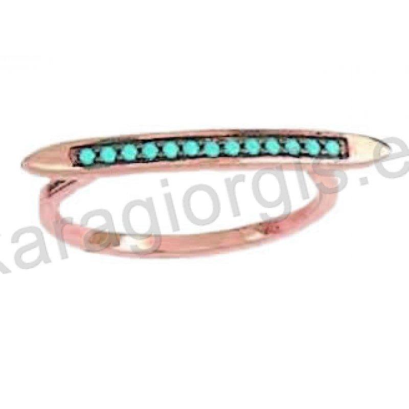 Μοντέρνο δαχτυλίδι σε ροζ χρυσό Κ14 με ένθετο λευκόχρυσο με άσπρες και  γαλάζιες πέτρες ζιργκόν σε 2d8d6a2f1dd