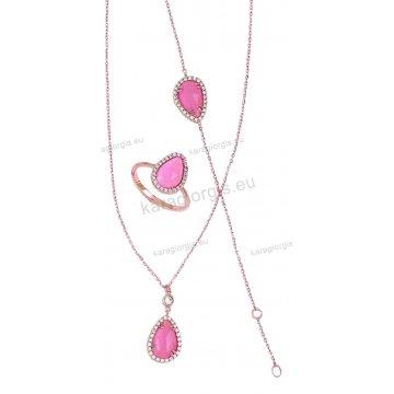 Σετ Κ14 ροζ χρυσό αρραβώνα-γάμου με πέτρες quartz σε ροζ χρώμα με κολιέ, δαχτυλίδι και βραχιόλι με άσπρες πέτρες ζιργκόν.