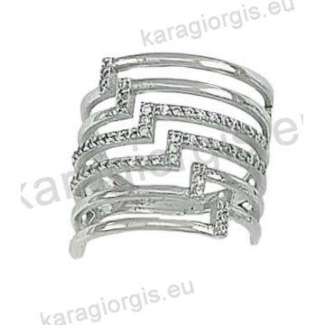Δαχτυλίδι λευκόχρυσο Κ14 μοντέρνο με έξι σειρές με άσπρες πέτρες ζιργκόν. 41f08bf6ddf