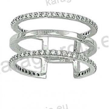 Δαχτυλίδι λευκόχρυσο Κ14 μοντέρνο με τρείς σειρές με άσπρες πέτρες ζιργκόν. 1951a2989a2